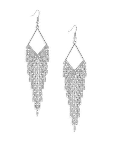 Guess Diamond-Shape Silvertone Multi-Chain Earrings-SILVER-One Size