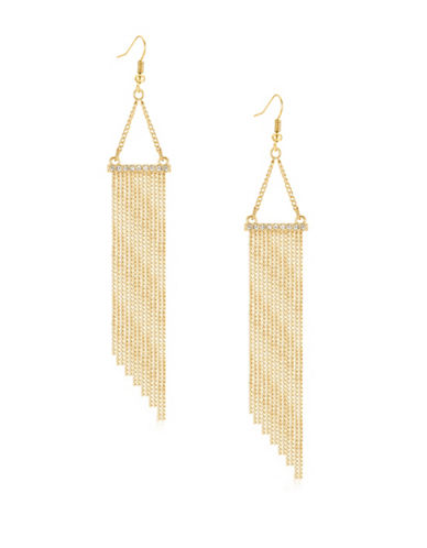 Guess Goldtone Multi-Chain Drop Earrings-GOLD-One Size