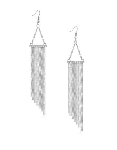 Guess Silvertone Multi-Chain Drop Earrings-SILVER-One Size