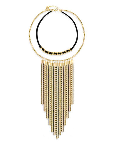 Guess Goldtone Lets Flirt Two-Row Tassel Necklace-GOLD-One Size