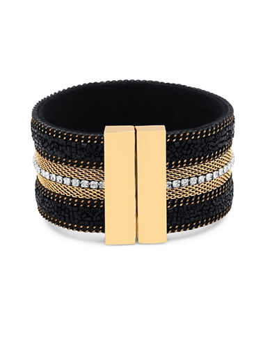 Guess Lets Flirt Goldtone Multi-Row Magnetic Bracelet-GOLD-One Size