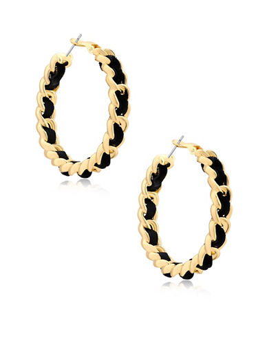 Guess Lets Flirt Goldtone Braided Hoop Earrings-GOLD-One Size