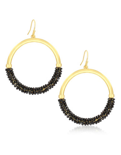 Guess Lets Flirt Goldtone Beaded Hoop Earrings-GOLD-One Size