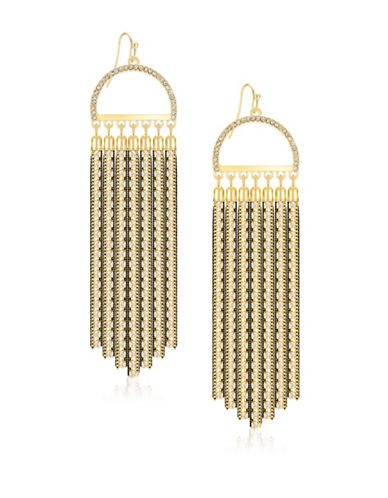 Guess Lets Flirt Goldtone Pave Tassel Earrings-GOLD-One Size