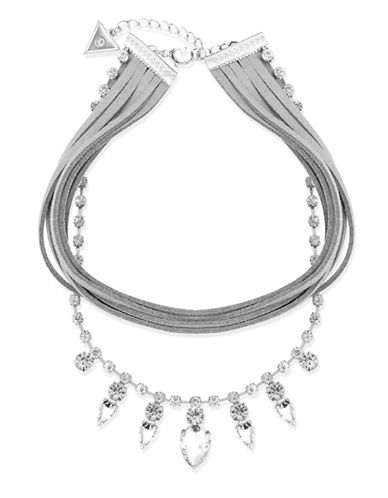 Guess Suede Cord Statement Choker Necklace-SILVER-One Size