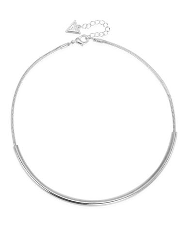 Guess Silvertone Capsule Torque Necklace-SILVER-One Size