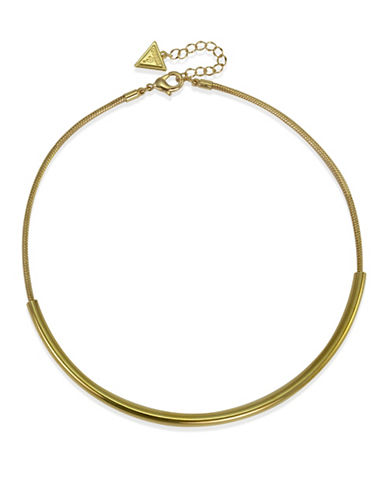 Guess Goldtone Capsule Torque Necklace-GOLD-One Size