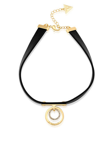 Guess Goldtone Ring Pendant Choker Necklace-GOLD-One Size