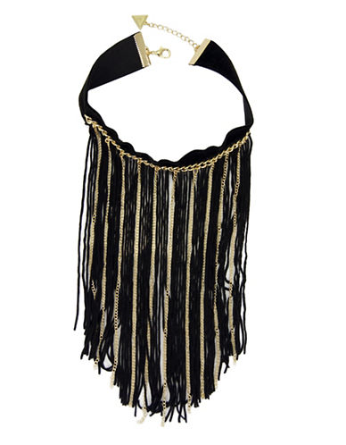 Guess Goldtone Fringed Velvet Choker Necklace-GOLD-One Size