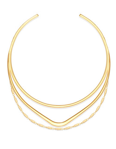 Guess Goldtone Multi-Row Torque Necklace-GOLD-One Size