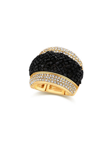 Guess Lets Flirt Goldtone Studded Stretch Ring-GOLD-One Size