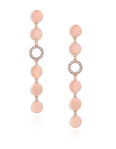 Guess Multi-Disc Linear Drop Earrings-ROSE GOLD-One Size