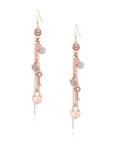 Guess Charm Linear Chain Drop Earrings-ROSE GOLD-One Size