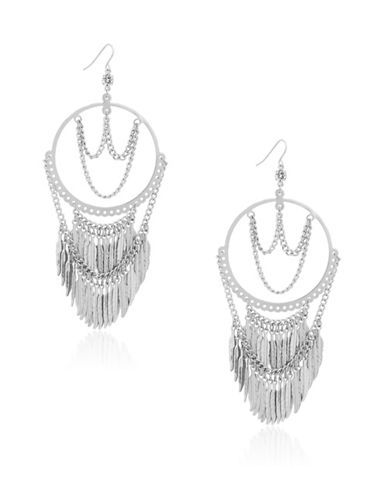 Guess Fringe Drop Earrings-SILVER-One Size