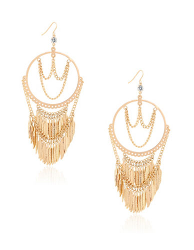 Guess Fringe Drop Earrings-GOLD-One Size