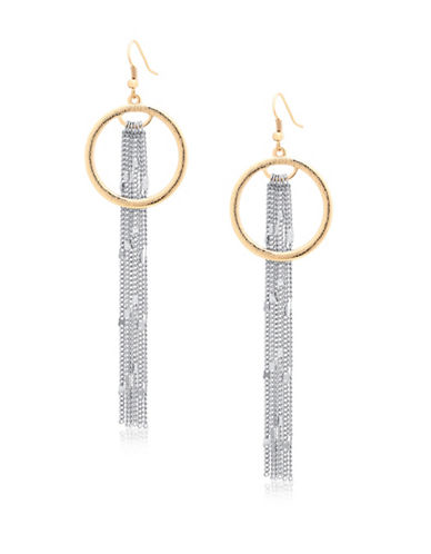 Guess Hoop and Linear Chain Drop Earrings-TWO TONE-One Size