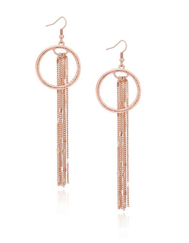 Guess Hoop and Linear Chain Drop Earrings-ROSE GOLD-One Size