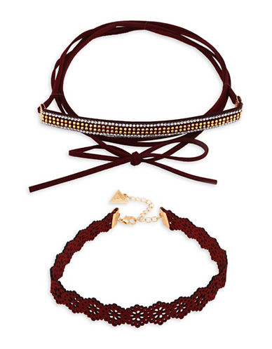 Guess Laser-Cut Studded Duo Choker Set-RED-One Size