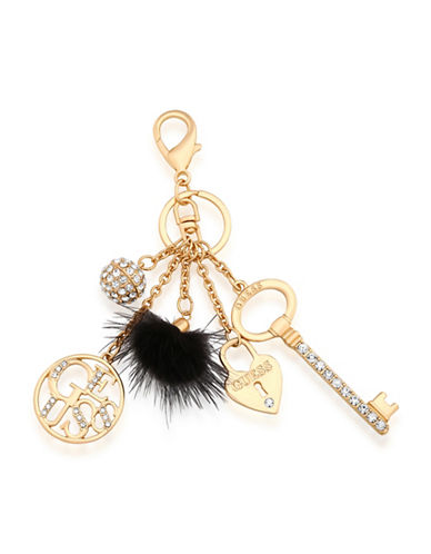Guess Logo Charm Keychain-ROSE GOLD-One Size