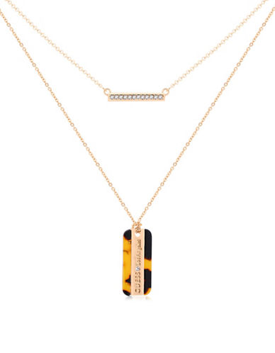 Guess Tortally Mine Two-Row Necklace-GOLD-One Size