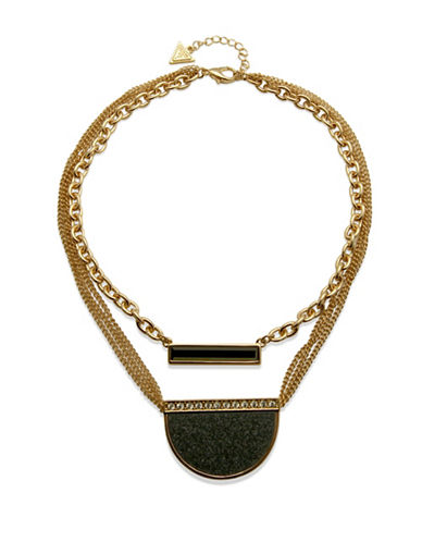 Guess Ready, Set, Jet Two-Row Necklace-GOLD-One Size