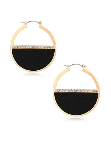 Guess Ready, Set, Jet Pave Hoop Earrings-GOLD-One Size
