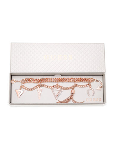 Guess Two-Row Crystal Charm Bracelet-ROSE GOLD-One Size