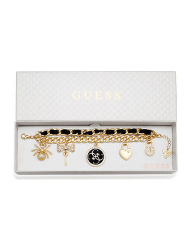 Guess Two-Row Charm Bracelet-GOLD-One Size