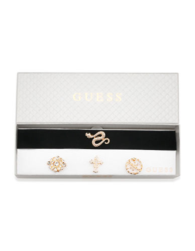 Guess Velvet Choker & Brooch Set-GOLD-One Size