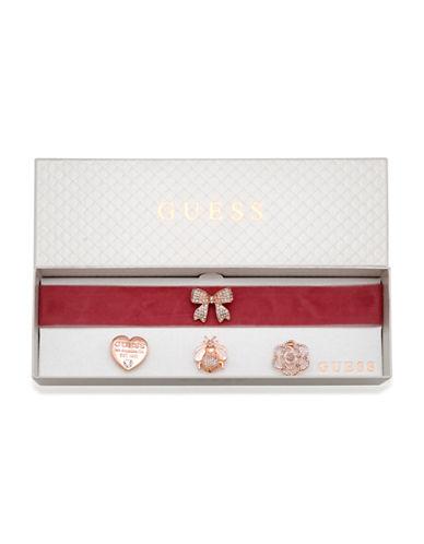 Guess Velvet Choker & Brooch Set-ROSE GOLD-One Size