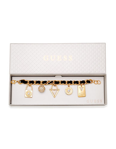 Guess Goldtone Crystal Charm Bracelet-GOLD-One Size