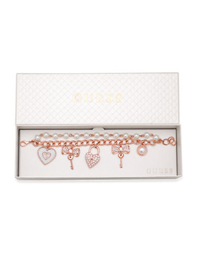 Guess Faux Pearl and Crystal Heart Charm Bracelet-ROSE GOLD-One Size