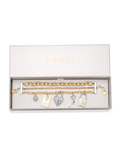 Guess Three-Row Crystal Charm Bracelet-GOLD-One Size