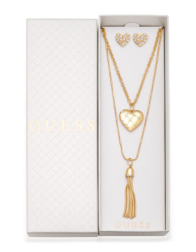 Guess Three-Piece Crystal Necklace & Earrings Set-GOLD-One Size