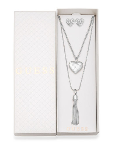 Guess Three-Piece Crystal Necklace & Earrings Set-SILVER-One Size