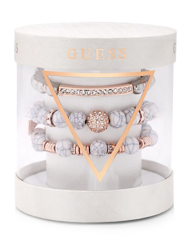 Guess Three-Piece Stretch Crystal Bracelet Set-SILVER/ROSEGOLD-One Size