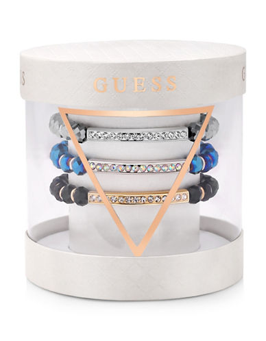 Guess Three-Row Crystal Charm Bracelet-TRI COLOUR-One Size