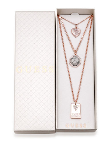 Guess Three-Piece Crystal Necklace Set-ROSE GOLD-One Size