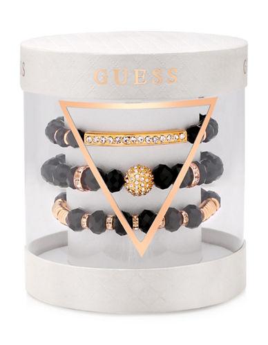 Guess Three-Piece Jet & Crystal  Bracelet Set-GOLD-One Size