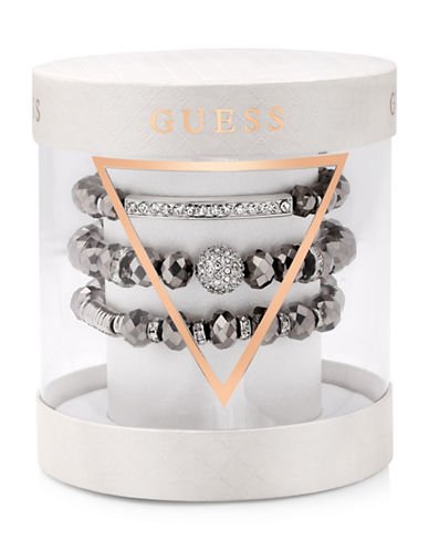 Guess Three-Piece Crystal Bracelet Set-SILVER-One Size