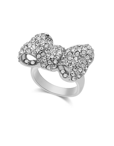 Guess Ring Update Silvertone Bow Statement Ring-SILVER-One Size