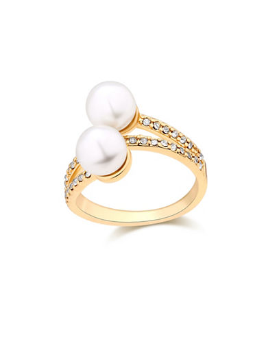 Guess Ring Update Faux Pearl Wrap Band Ring-WHITE-One Size
