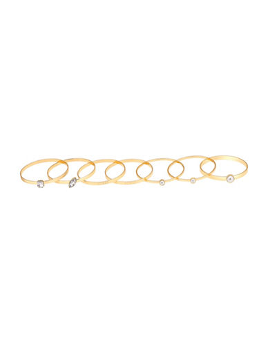 Guess Call Me Pearl Faux Pearl Bangle Bracelet Set-GOLD-One Size