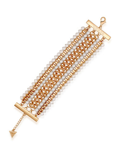 Guess Call Me Pearl Faux Pearl Chain Line Bracelet-GOLD-One Size