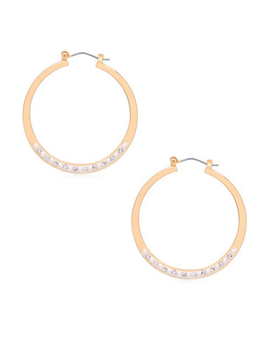 Guess Call Me Pearl Faux Pearl Hoop Earrings-WHITE-One Size