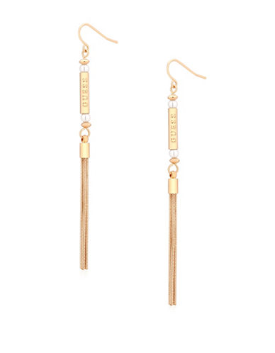 Guess Call Me Pearl Faux Pearl Tube Drop Earrings-GOLD-One Size