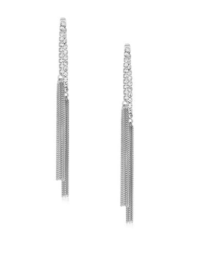 Guess Ear Update Silvertone Multi-Chain Drop Earrings-SILVER-One Size