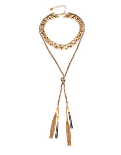 Guess Metallic Metals Crystal Multi-Strand Tassel Necklace-GOLD-One Size