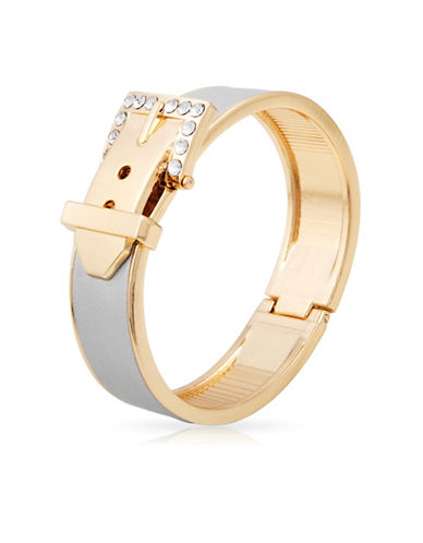 Guess Metallic Metals Crystal Hinged Bracelet-GOLD-One Size