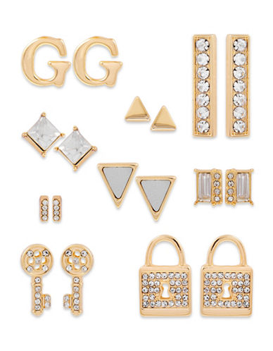 Guess Metallic Metals Nine-Piece Crystal Earring Set-GOLD-One Size